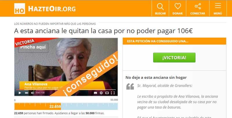 Captura de pantalla de la web que recogía firmas en favor de la anciana de Granollers