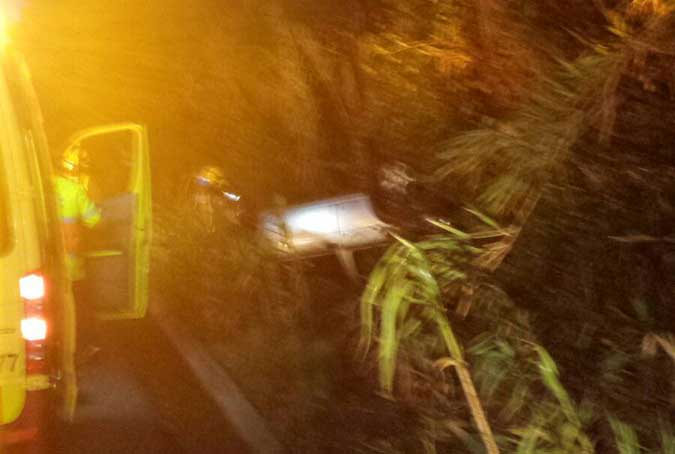 Un coche se ha salido de la vía en la Garriga. Foto: Bombers El Figaró