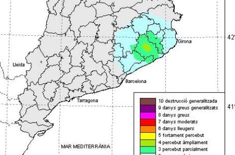 Un seismo de escala 4 en Sils es percibido en parte del Vallès Oriental