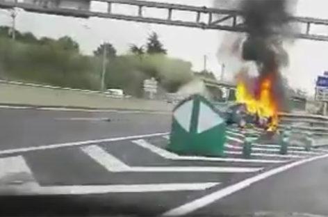 El incendio de un vehículo obliga a cortar la C-17 a la altura de Mollet
