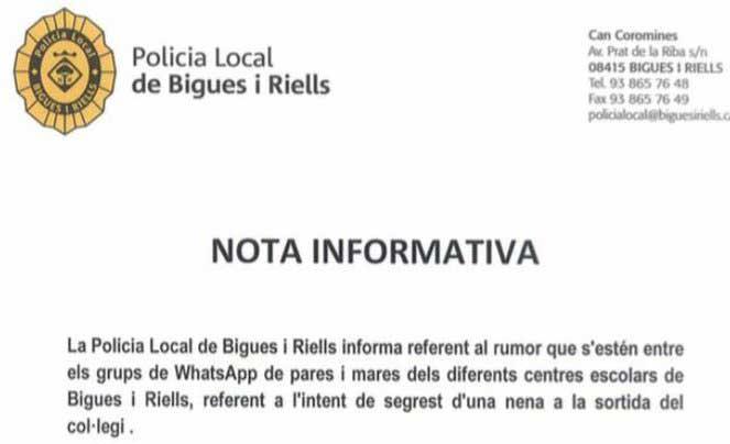 Frgmento de la nota de la policía de Bigues i Riells