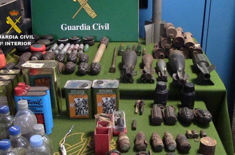 La Guardia Civil desvela que en el arsenal incautado en Sant Celoni encontraron minas anticarro, antipersona y granadas