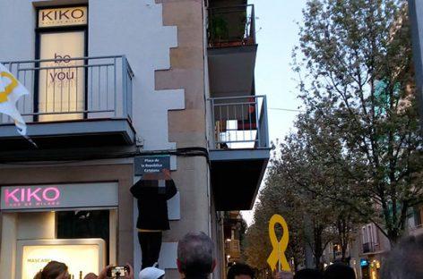 El CDR de Granollers rebautiza la plaza de la Corona de Granollers como plaza de la República Catalana