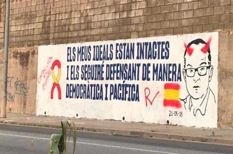 El mural dedicado a Jordi Turull por la JNC en Parets no duró intacto ni 24 horas