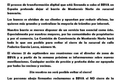 Un grupo de vecinos de Montornès Nord se movilizan para evitar el cierre de la única oficina  bancaria del barrio