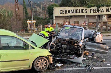 Un herido crítico en un choque frontal en la C-35, en Sant Celoni