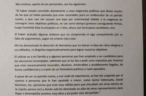 Publicamos  la carta completa de dimisión del «alcaldable» de VOX en Granollers